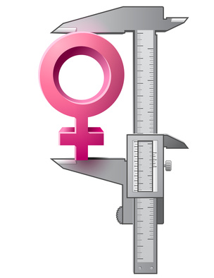 Caliper measures female sign
